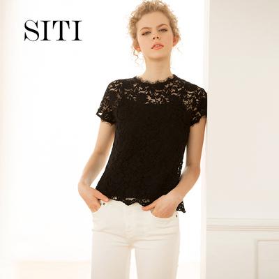 Siti Selected新款黑色蕾丝上衣短袖流苏镂空时尚吊带两件套夏女