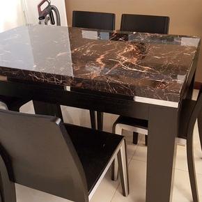 加厚大理石台面餐桌椅组合 不锈钢长方形现代简约橡木6人饭桌195