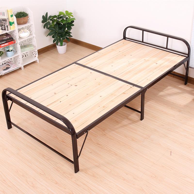 简易折叠床双人床1.2米铁艺床办公室午睡床 实木硬板床加固单人床