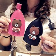 Creative leather GM car key bag female Korea cute brown bear cartoon home large capacity key set