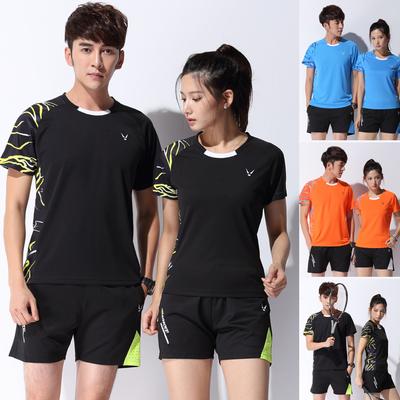 正品速干乒乓球羽毛球服运动套装男女圆领短袖上衣半袖训练服印字