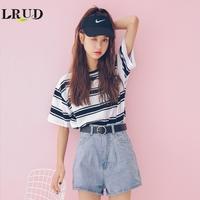 LRUD2018夏装新款韩版宽松条纹撞色短袖女学院风圆领百搭休闲T恤