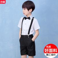 Children's dress men's chorus costumes costumes short-sleeved straps boys boys Liuyi performance set primary school uniforms summer