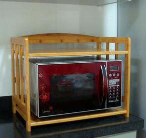 楠竹加厚厨房双层置物微波炉架多功能收纳架储物架层架烤箱架包邮
