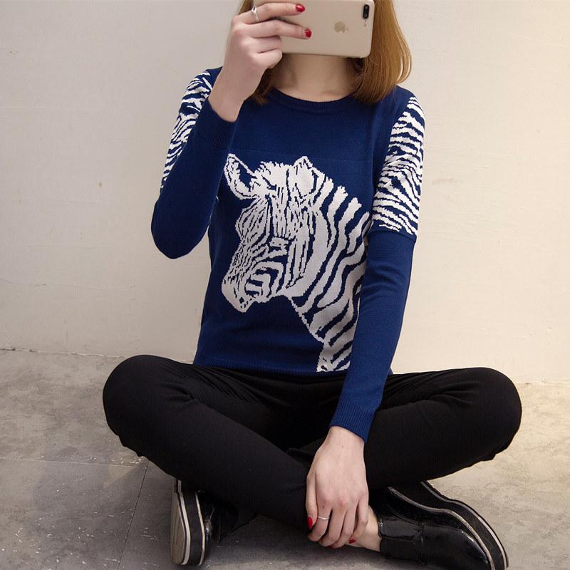 毛衣女秋冬打底衫宽松韩版套头针织衫长袖短款圣诞毛衣2016新款潮