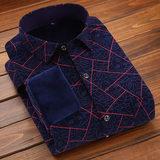男士保暖衬衫男长袖加绒加厚修身寸衫冬季休闲衣服格子加绒男衬衣