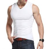 t恤紧身修身 背心 坎肩健身运动宽肩汗衫 夏季纯棉V领打底无袖 男士