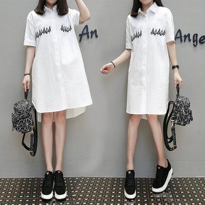2018韩版chic衬衫女夏季新款宽松显瘦棉麻刺绣白色短袖中长款衬衣