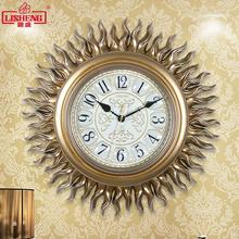 丽盛欧式挂钟复古静音客厅时钟创意太阳钟表美式石英钟装饰挂表