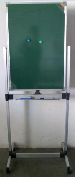 磁性双面绿板+铝架支架式教学移动磁性黑板粉笔120*150CM书写看板