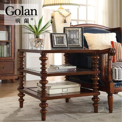 广兰家具复古个性全实木美式角几边几 欧式三层方茶几1608品牌排行