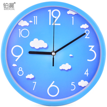 Platinum Morning Mute clock living room personality clock modern minimalist clock home quartz clock round clock creative hanging tables