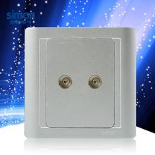 西蒙开关插座面板银色一分二电视串接式有线电视电视插 N55119-57