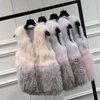 狐狸毛马甲中长款女2018冬新款显瘦海宁羊羔毛背心滩羊毛皮草外套