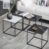 致家家居/无拘茶几/北欧铁艺展框组合展架沙发边几大理石铁艺茶几