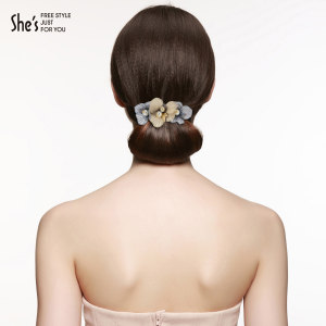 shes发饰手工双色刺绣花朵盘发发夹仿珍珠弹簧夹横夹马尾夹头饰