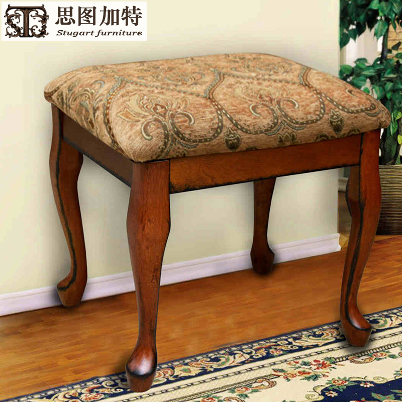 思图加特家具美式实木梳妆凳换鞋凳琴凳化妆凳简约坐凳凳子