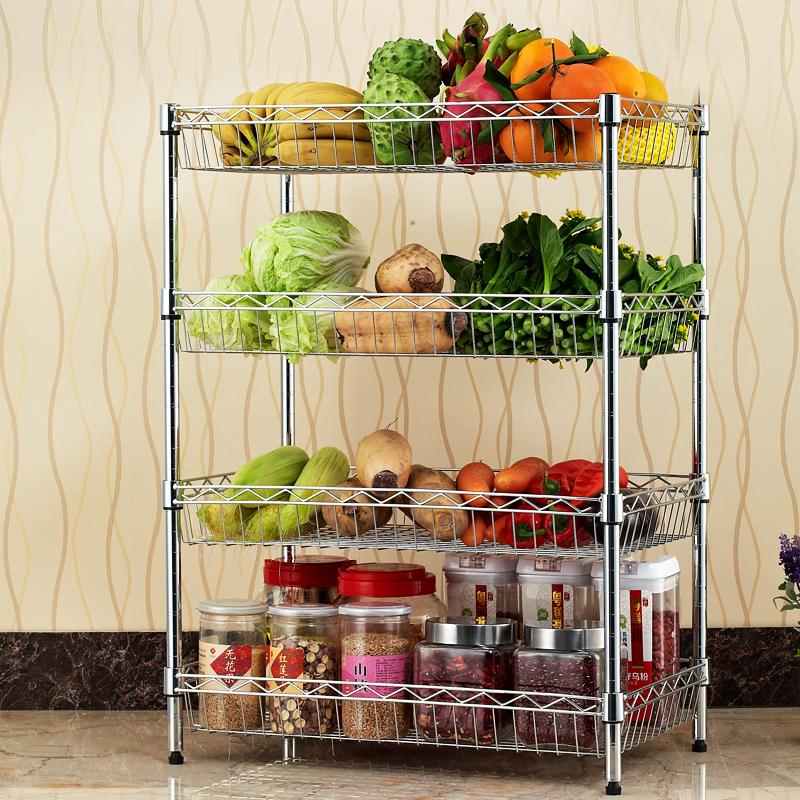 厨房置物架落地收纳厨房水果菜篮层架3层4层蔬菜水果菜篮架5元优惠券
