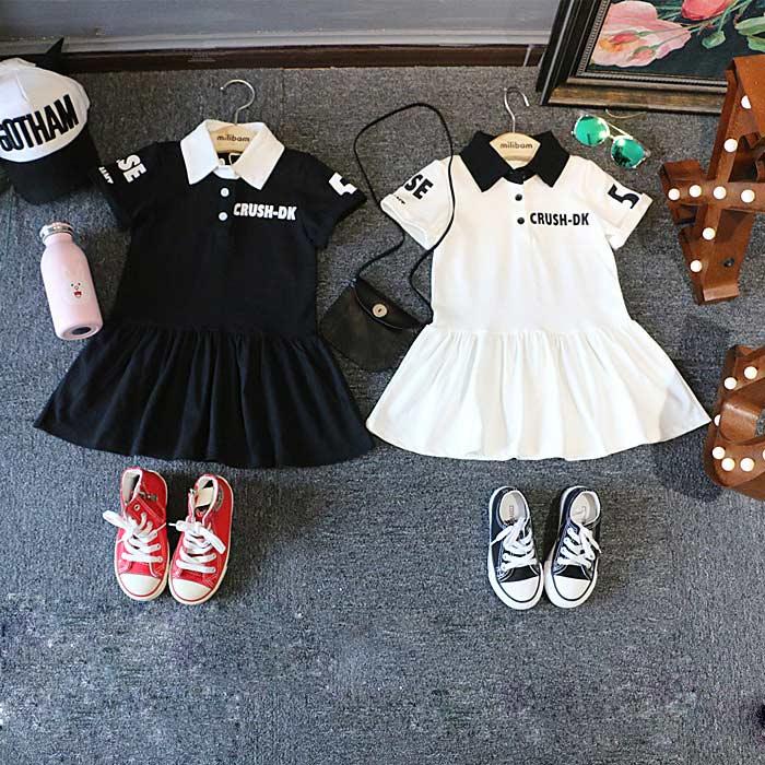 童短袖拼接连衣裙