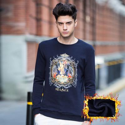 加绒加厚男士长袖T恤 修身韩版小清冬季体恤男款保暖小衫印花卫衣