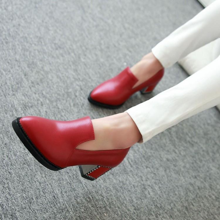 女鞋蓝色红色粗跟高跟鞋小码鞋 31-33  特大码鞋 40-43 44-48 LNM