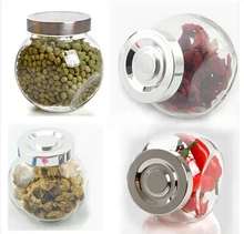 Lilac glass storage tank storage tank storage bottle storage tank lead-free sealed bottle container coffee transparent kitchen