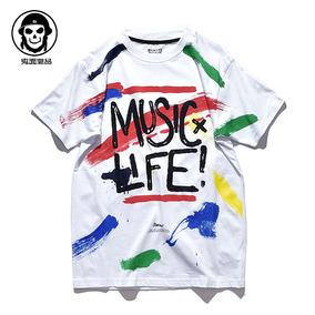 鬼面原创 个性彩色油漆涂鸦 现场音乐节 文化衫体恤 短袖T恤 男女