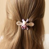 蝴蝶结发夹成人发卡夹子韩版头饰水钻顶夹花朵弹簧夹盘发饰品头花