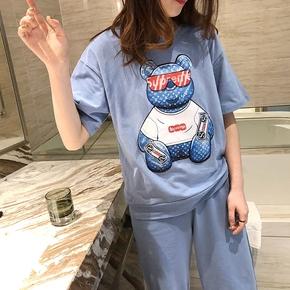 日系小熊春夏季短袖长裤睡衣女纯棉 甜美可爱圆领可外穿家居服潮