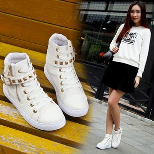 2017新款高帮帆布鞋女学生韩版铆钉小白鞋圆头平底系带白色板鞋