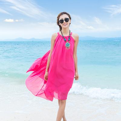 新款裙子胖MM雪纺连衣裙波西米亚中长裙夏天海边度假沙滩裙显瘦