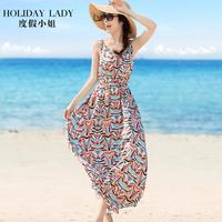 度假波西米亚吊带长裙收腰遮肚连衣裙a字裙海滩裙沙滩裙泰国女装