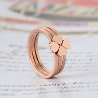 四叶草戒指女韩版韩国钛钢镀18K玫瑰金幸运尾戒指环食指创意饰品