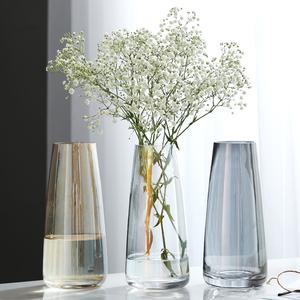 北欧玻璃清新花瓶摆件现代简约客厅透明多色水养鲜花插花长款桌面