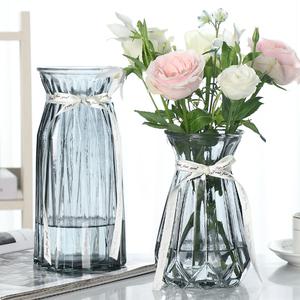 【二件套】大号简约玻璃花瓶透明彩色水培植物富贵竹干花插花摆件