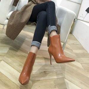 2020冬季新款侧拉链及裸靴尖头高跟短靴女细跟显瘦马丁靴加绒女靴