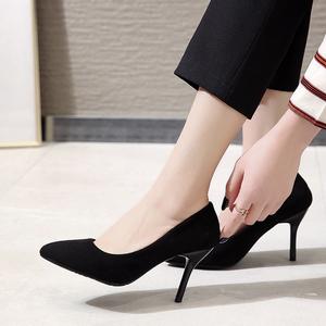 空姐上班工作鞋女黑色皮鞋2021新款单鞋气质尖头性感高跟鞋女细跟