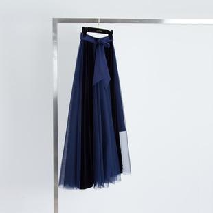 「亦多」米兰摩登优雅仙气松紧高腰天鹅绒拼镂空网纱大摆长款半裙