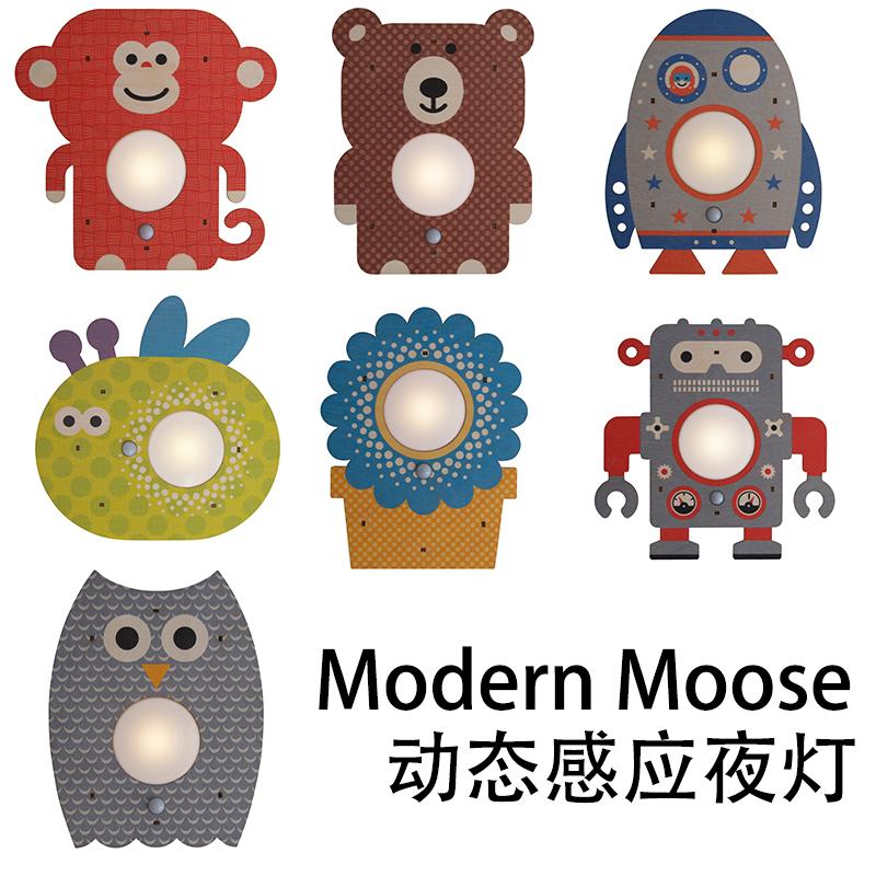【代购】x美国modern moose儿童房创意感应小夜灯机器人动物火箭