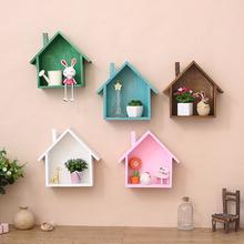 美式乡村复古彩色小房子客厅墙上装 饰品壁挂置物架隔板墙壁饰墙饰