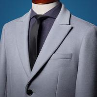 【赠羊毛衫】HANY汉尼秋冬羊毛羊呢绒大衣灰色保暖中长款商务男士
