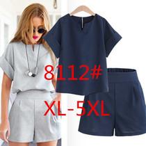 现货2017夏装新款欧美风大码女装胖MM短袖上衣短裤两件套套装