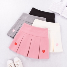 Love embroidered half-length skirt Autumn and Winter New College Wind wool pleated skirt anti-light sweet pink skirt thin
