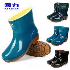 Pull back short tube tendon bottom rain boots female non-slip wear rain boots plus cotton velvet water shoes kitchen rubber shoes overshoes men's water boots