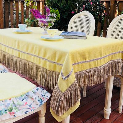 欧式新款流苏桌布长方形简约现代茶几台布 圆形厚实餐桌布艺套装