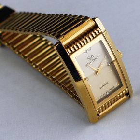 海鸥方型手表 库存手表 石英男表 复古手表 金色 走时准确