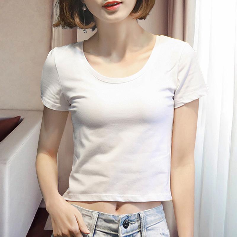 夏装新款白色短袖t恤女短款露.