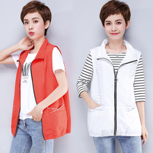 Majia female Xia thin large waistcoat single-layer 100-fold shoulder short middle-aged mother sleeveless outside wearing a horse jacket summer clothes