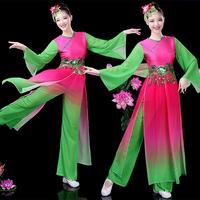 古典舞练功服2019新款春秧歌舞演出服民族舞蹈服装水袖飘逸扇子舞