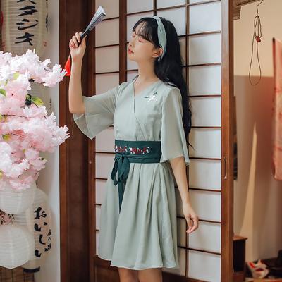 2019新款汉服女很仙连衣裙短款小个子女装现代夏季少女古风汉元素